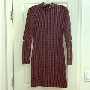 H&M shimmer long sleeve mock neck dress sz 6